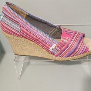 Tom's peep toe wedges espadreilles 8.5 women